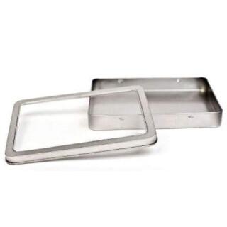 Weißblechdose DIN A6 mit transparenten Fenster