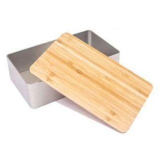 Weißblechdose für Stollen mit Bambusdeckel